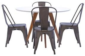 Conjunto Mesa Square Redonda Branco Fosco 88cm com 4 Cadeiras Tolix Ferrugem Vintage