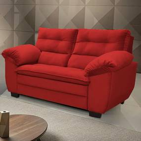 Sofá Macio Com Fibra Premium 1,66mts 2 Lugares Tecido Suede Vermelho