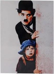 Placa de Metal Chaplin e Criança