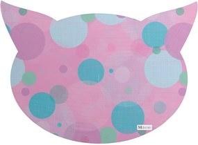 Tapete PET Mdecore Cabeça de Gato Geométrico Rosa54x39cm