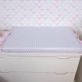 Trocador de Bebê Chevron Rosa