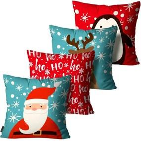 Kit 4 Capas para Almofadas Mdecore Natal Papai Noel Azul45x45cm