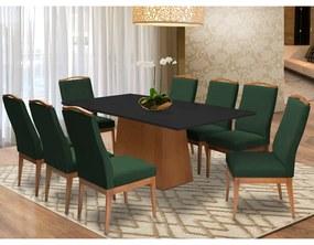 Conjunto Mesa Bianca Preto 2,08 m + 8 Cadeiras Lara Aveludado Verde