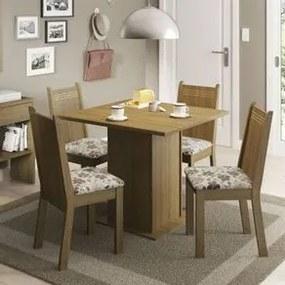 Conjunto Sala de Jantar Kate Madesa Tampo de Madeira com 4 cadeiras Rustic/Hibiscos Cor:Rustic/Hibiscos