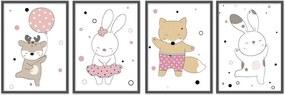 Quadro 60x160cm Infantil Animais Felizes Moldura Preta sem Vidro Decorativo
