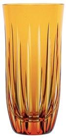 Copo de Cristal Lapidado Artesanal Long Drink - Amarelo  Amarelo
