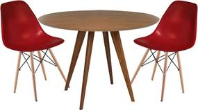 Conjunto Mesa Square Redonda Louro Freijó  80cm + 2 Cadeiras Eiffel Bordô