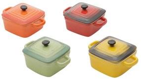 Jogo Mini Panelas Quadradas De Porcelana Coloridas Com Tampa 9 Cm 4 Peças 30395 Bon Gourmet
