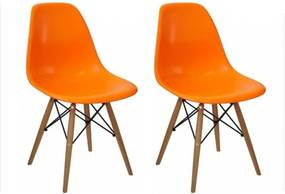 Kit 02 Cadeiras Facthus Eiffel Charles Eames Laranja
