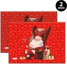 Jogo Americano Mdecore Natal Papai Noel 40x28 cm Vermelho2pçs