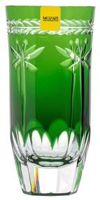 Copo de Cristal Lapidado Artesanal Long Drink - Verde Escuro - 87