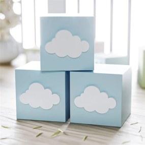 Cubo MDF Azul Personalizado Nuvem 6x6cm Grão de Gente Azul
