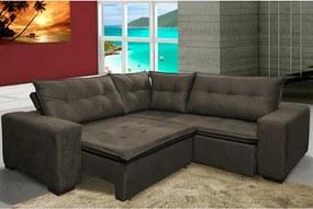 Sofa De Canto Retrátil E Reclinável Com Molas Cama Inbox Oklahoma 2,20m X 2,20m Suede Velusoft Café