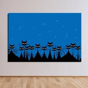 Tela Decorativa Multidão de Gatos Pretos na Noite - Tamanho: 60x90cm (A-L) Unico