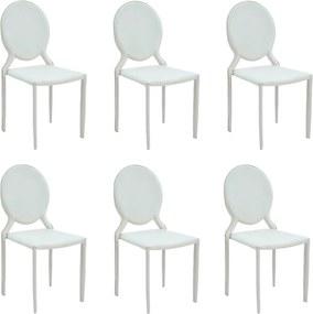 Kit 6 Cadeiras Decorativas Sala e Cozinha Karma Medalhão PVC Branca - Gran Belo