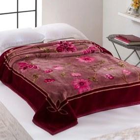 Cobertor Casal Home Design 2,20m x 1,80m 01 Peça - Vinho / Floral