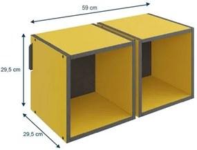 Nicho de Parede Decorativo Duplo Mov 1004 Amarelo - BE Mobiliário