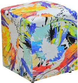 Puff Quadrado Decorativo Collor Impermeabilizado 425 LymDecor Colorido