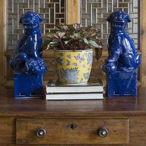 Estatueta Par de Leões Chineses em Porcelana Azul GG