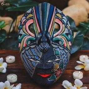 Máscara Colorida Batik c/ Pássaro Azul