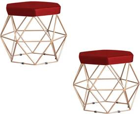 Kit 2 Puff Decorativo Base Gold Elsa Veludo Vermelho - Gran Belo