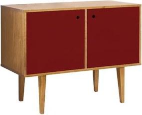Buffet 2 Portas Vintage Vermelho Bordô Laqueado Fosco e Estrutura Madeira Maciça