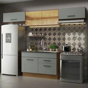 Cozinha Compacta Madesa Agata 280001 com Armário e Balcão Rustic/Cinza Cor:Rustic/Cinza