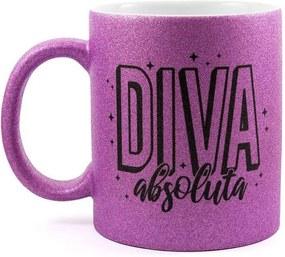 Caneca Personalizada Diva Absoluta Glitter Roxo