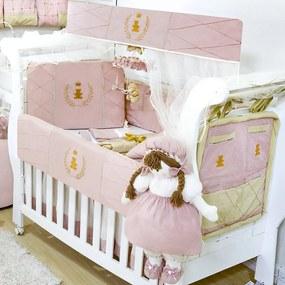 Kit Berço Padroeira Baby Realeza Luxo Rosa