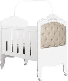 Berço Mini Cama Provence com Capitonê Branco/Bege - Planet Baby