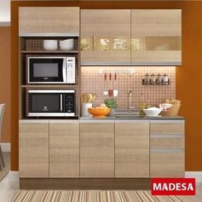 Cozinha Compacta 7 Portas 3 Gavetas Amora Rustic/Saara - Madesa