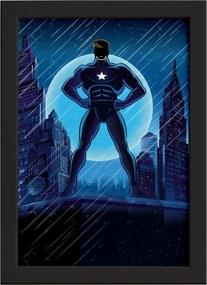 Quadro Super Heróis Geek Azul Estrela Moldura Preta 33x43cm