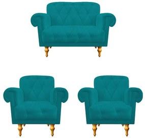 kit 02 Poltronas e  01 Namoradeira Decorativas Dani Suede Azul Turquesa - ADJ Decor