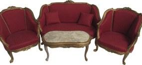 Kit Sofá Clássico Luis XV Vermelho 2 Poltronas e Mesa de Centro