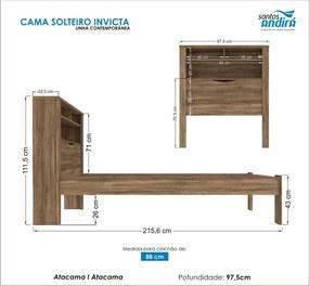 Cama Solteiro Invicta C/Baú 225655 Atacama Santos Andirá
