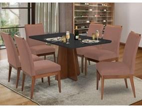 Conjunto Mesa Karina 1,60 m Preto + 6 Cadeiras Leticia Veludo Crepe