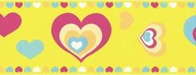 Faixa De Parede Corações Amarelo E Colorido - Kawayi - Importado Laváv...