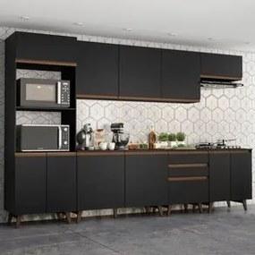 Cozinha Completa Madesa Reims 320002 com Armário e Balcão Preto Cor:Preto