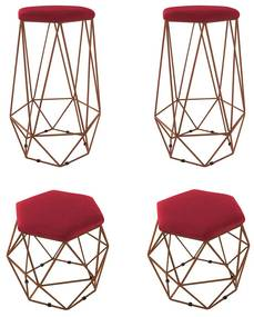 Kit 2 Banquetas + 2 Puffs Eiffel Aramado Bronze Suede Vermelho
