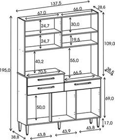 Kit Cozinha Compacta 6 Portas Orion Nogal/White/Nogal - Kit's Paraná