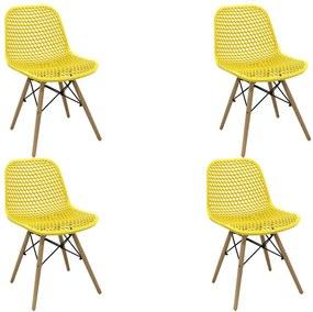 Kit 4 Cadeiras Decorativas Sala e Cozinha Haney (PP) Amarela - Gran Belo