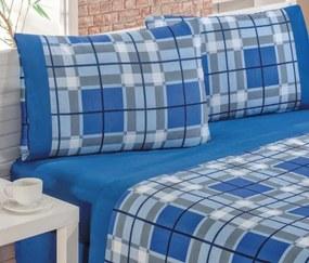 Roupa de Cama Casal King Veneza 150 Fios Kit 04 Peças - Azul