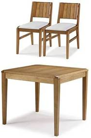 Conjunto Salvador Mesa Jantar 90cm Tampo Madeira + 2 Cadeiras  Assento Estofado  - 60514 Sun House