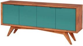 Buffet Querubim 4 Portas Natural e Turquesa - Wood Prime MP 27594