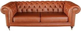 Sofá 2 Lugares Sala de Estar 180cm Chesterfield Duo Couro Conhaque Brilho - Gran Belo