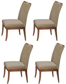 Conjunto 4 Cadeiras Sala de Jantar Lana Veludo Cappuccino