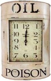 Relógio De Parede Retrô Oil Poison Metal Branco
