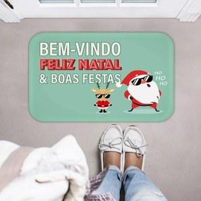 Tapete Decorativo Natal Papai Noel e Cervo Colorido40x60cm