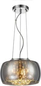 Pendente Sidney Vidro Metalizado Cromado 28cm e Cristais Transparentes - Chandelie - BLL05-C
