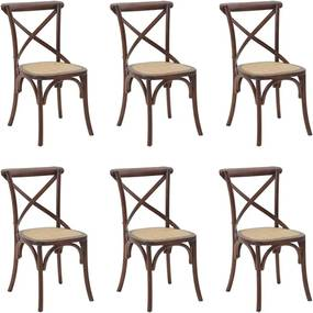 Kit 6 Cadeiras Decorativas Sala De Jantar Cozinha Danna Rattan Natural Madeira Escura - Gran Belo